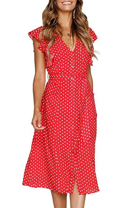 MITILLY Boho Polka Dot Dress