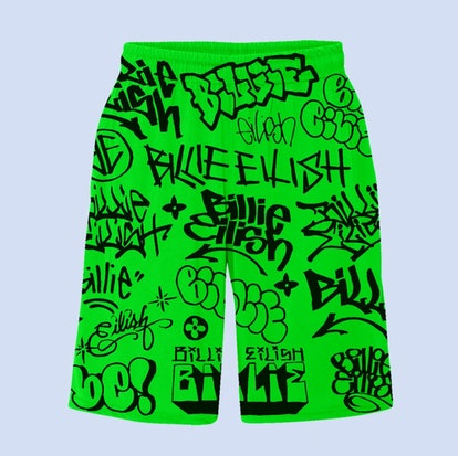 BILLIE EILISH X FREAK CITY GREEN GRAFFITI SHORTS + DIGITAL ALBUM