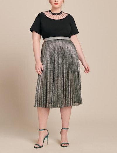 Pleated Lame Mesh Skirt