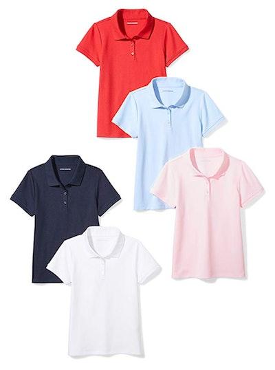Girls' Short-Sleeve Uniform Interlock Polo 5 Pack