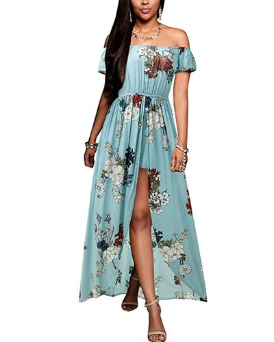 BIUBIU Off The Shoulder Split Romper Dress