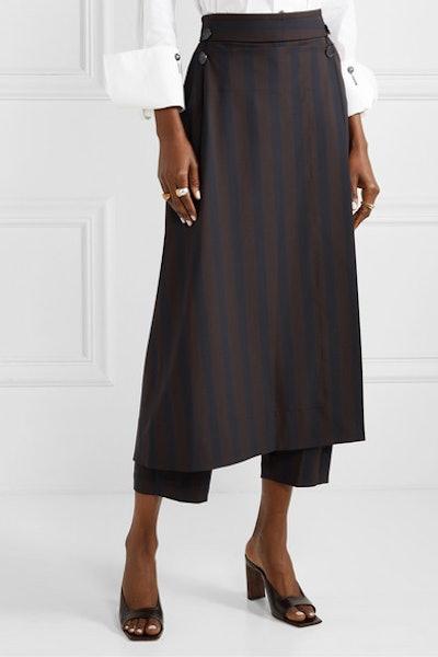 palmer//harding Linked Convertible Striped Woven Straight-Leg Pants