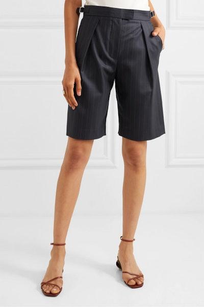 Wright Le Chapelain Pinstriped Wool Shorts