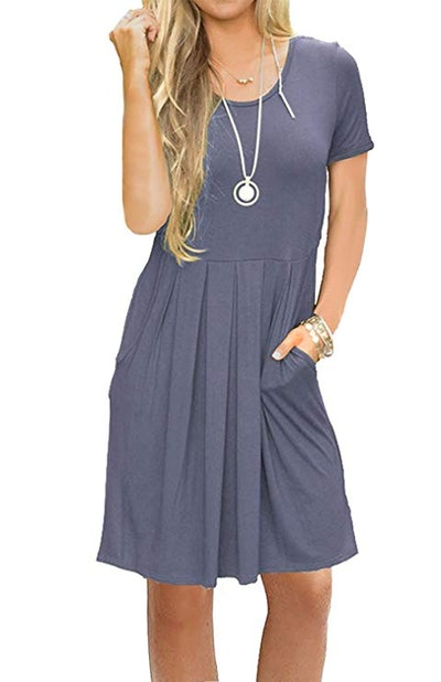 AUSELILY Casual Pleated Dress