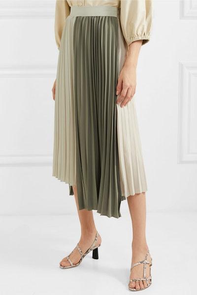 Frankie Shop Tiffany Two-Tone Pleated Crepe Midi Skirt