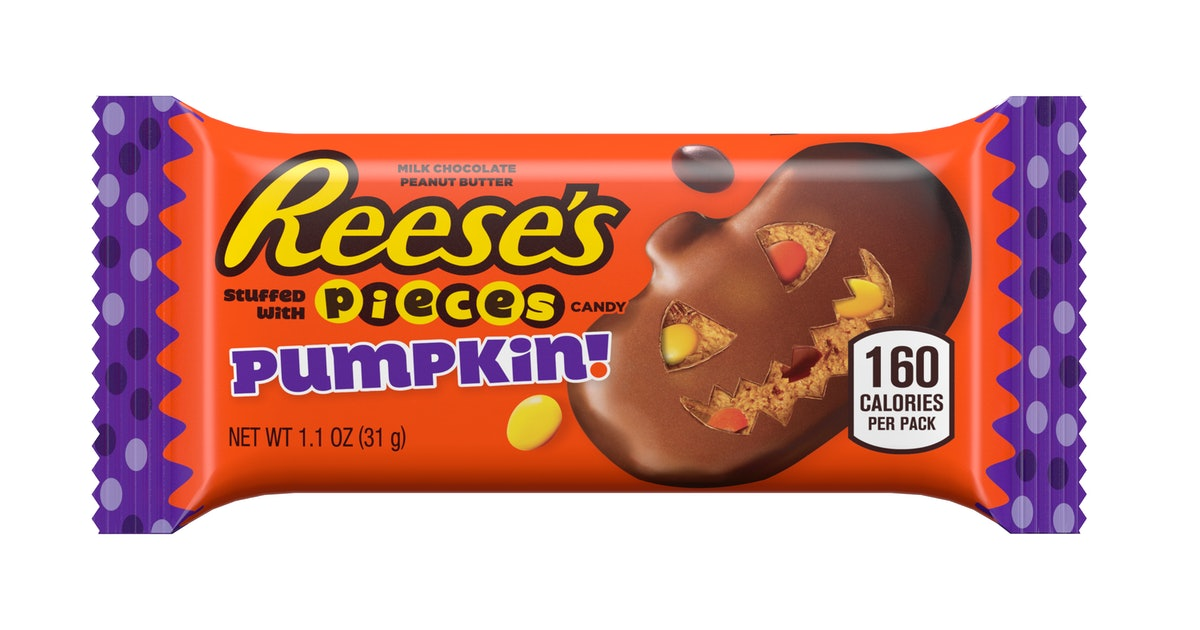 The New Reese's Halloween Candy Is Stuffed With Reese's Pieces And Looks Like A Pumpkin