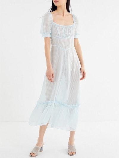 Salem Sheer Puff Sleeve Maxi Dress