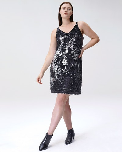 Wonder Sequin Slip Dress - Silver/Black