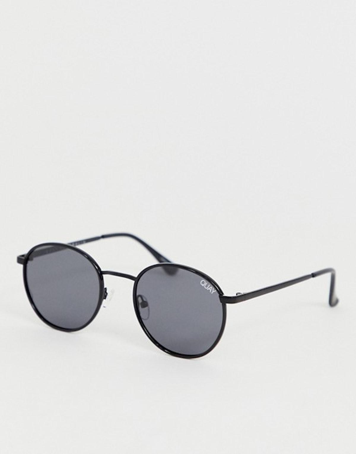 Quay Australia Omen Round Sunglasses in Black