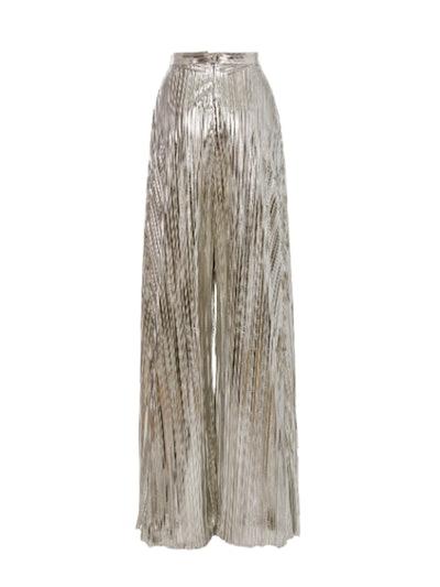 Metallic Plissé-Lamé Wide-Leg Pants