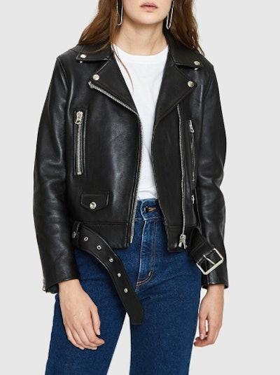 Leather Mock Motorcycle Jacket in Black