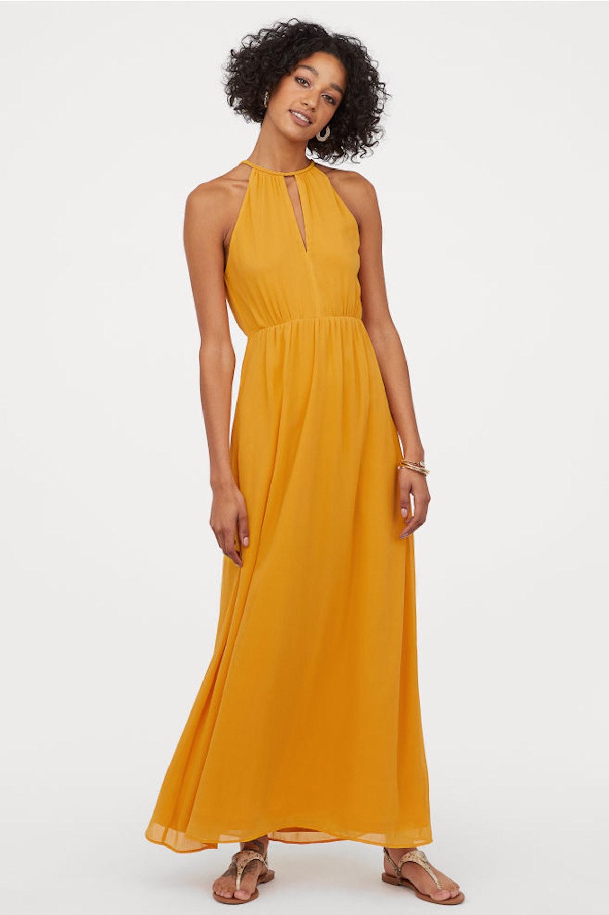 Crêped Long Dress