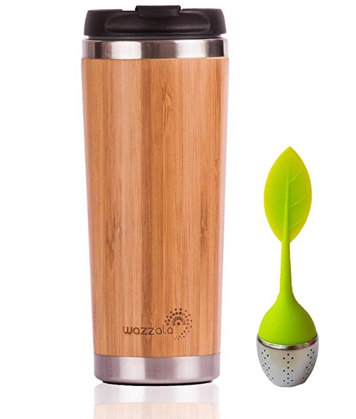 Wazzala Elegant Reusable Bamboo Eco Travel Mug