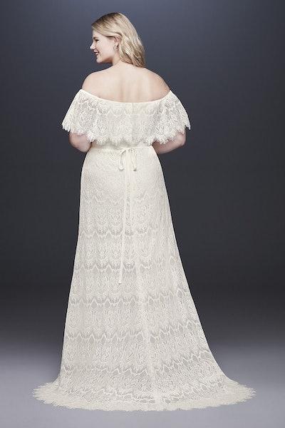Off-The-Shoulder Eyelash Plus Size Wedding Dress