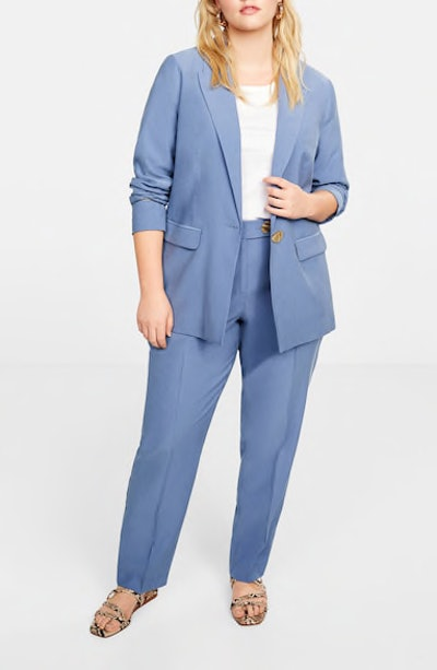 Button Soft Blazer & Straight-Fit Trousers