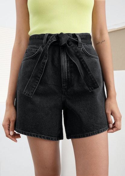 High Waisted Belted Denim Shorts