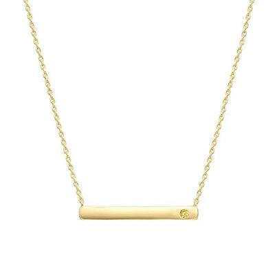 PAVOI 14K Gold Plated Swarovski Crystal Birthstone Bar Necklace