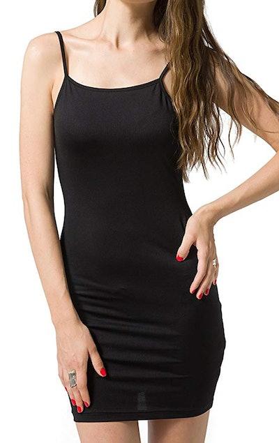 Chifave Women's Bodycon Spaghetti Strap Cami Slip Under Mini Dress