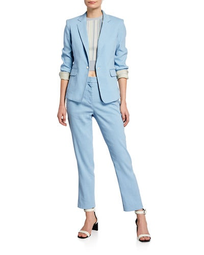 Lucy One-Button Blazer & Poppy Tab-Front Pants