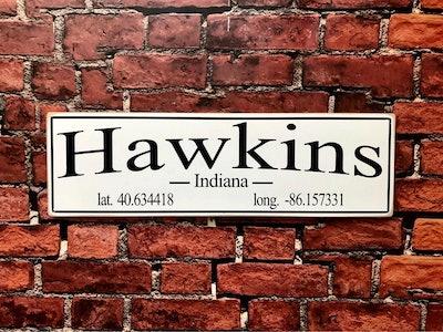 Hawkins, Indiana Wood Sign