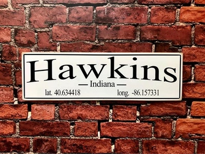 Hawkins, Indiana Wood Sign