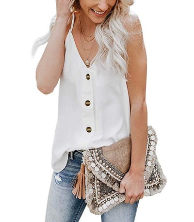 KAIDER Tie Knot Henley Tunic Tank Top