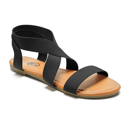 Trary Open Toe Cute Elastic Flat Sandals for Women