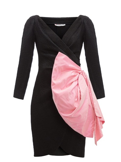 YSL 1987 Bow-Embellished Cloqué Wrap Dress