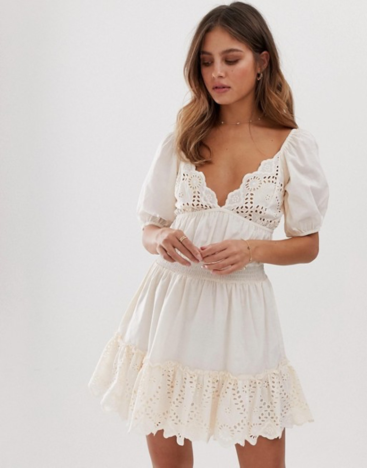 ASOS DESIGN Sweetheart Broderie Mini Dress with Elasticated Waist