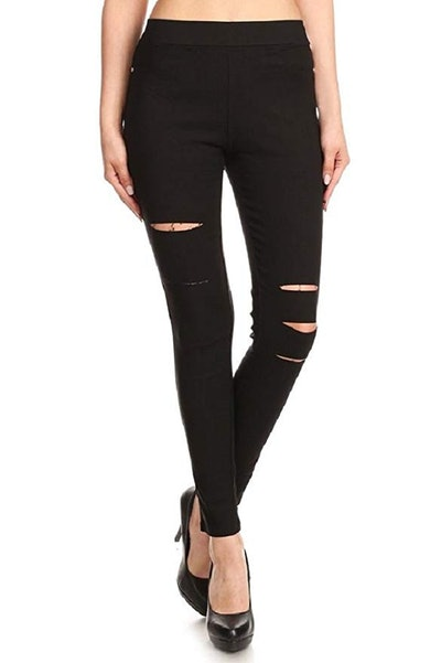 Jvini Women's Pull-On Ripped Distressed Stretch Legging Pants