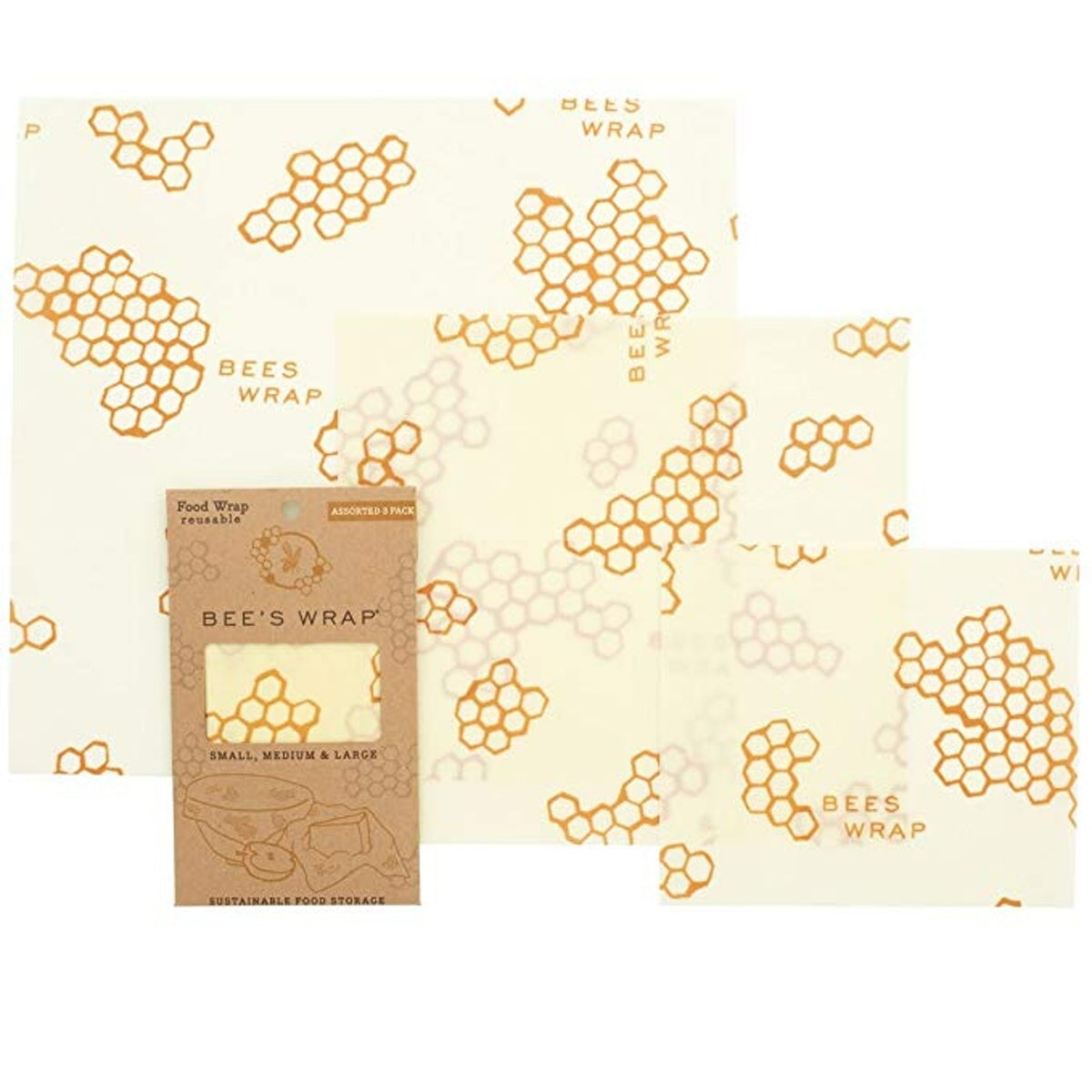 Bee's Wrap Eco Friendly Reusable Beeswax Food Wraps (3-Pack)