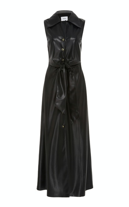 Sharma Tie-Front Vegan Leather Maxi Dress