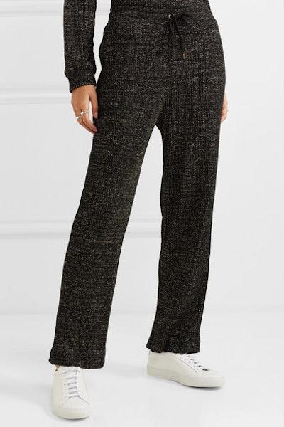 Metallic Ribbed Cotton-Blend Track Pants
