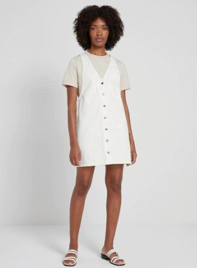 Good Cotton Denim Pinafore in White
