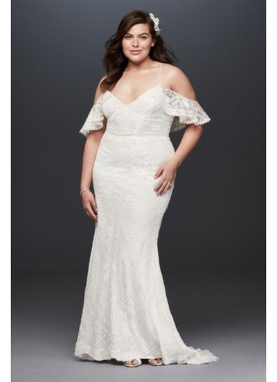 Galina Ruffle Cold Shoulder Plus Size Wedding Dress