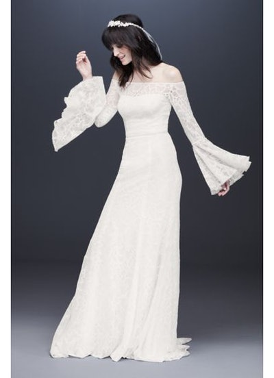 Galina Bell Sleeve Off-the-Shoulder Lace Wedding Dress