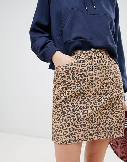 New Look Leopard Print Denim Skirt