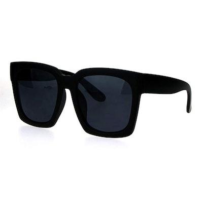 SA106 Womens Boyfriend Style Oversize Horned Rim Thick Plastic Sunglasses