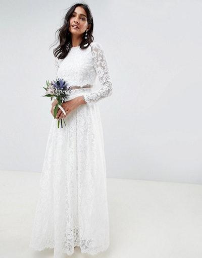 ASOS Lace Long Sleeve Crop Top Maxi Wedding Dress
