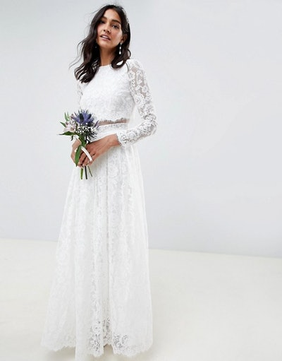 ASOS Lace Long Sleeve Crop Top Maxi Wedding Dress