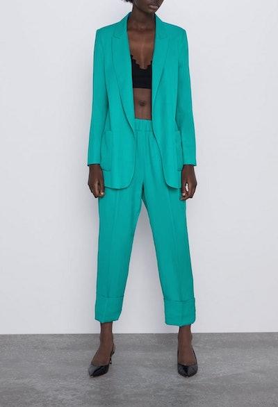 Long Blazer With Pockets & Cuffed Pants