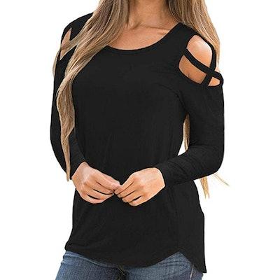 TLTL Women Summer Short Sleeve Strappy Cold Shoulder Blouse