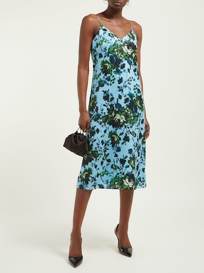 Vivianne Rose-Print Satin Slip Dress