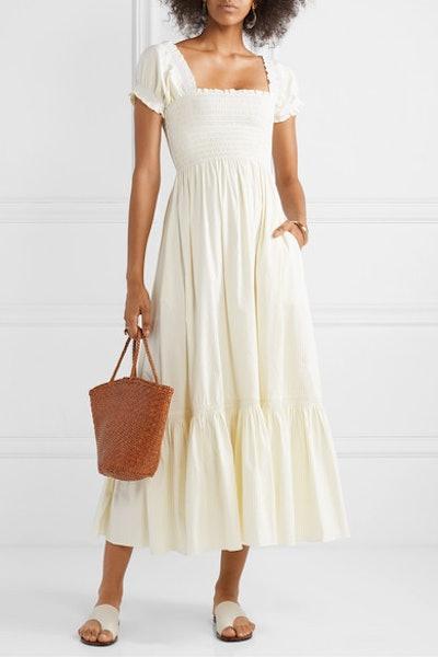 Arielle Shirred Striped Cotton-Blend Poplin Maxi Dress