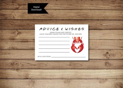 Friends Marriage Advice Card -- Bridal Shower