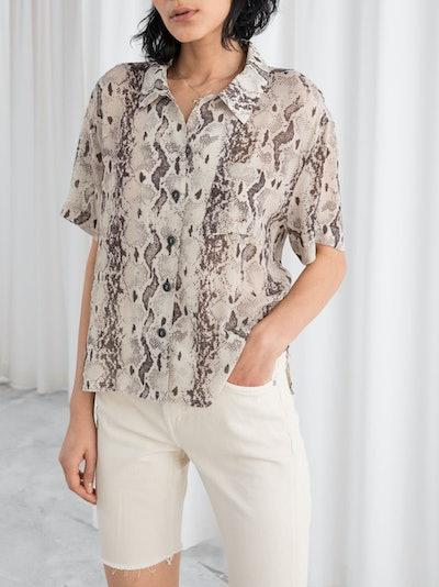 Sheer Snake Print Button Up Shirt
