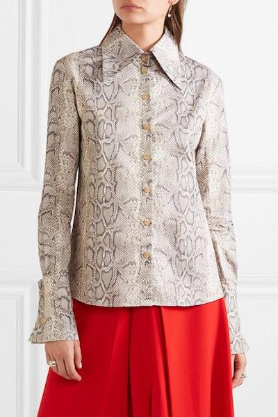 Tonie Animal-Print Cotton-Poplin Shirt