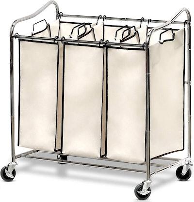 Simple Houseware 3-Bag Laundry Sorter Cart