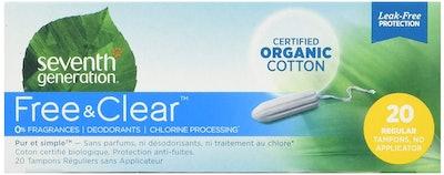 Seventh Generation Chlorine Free Organic Cotton Tampons, Regular (20 Count)