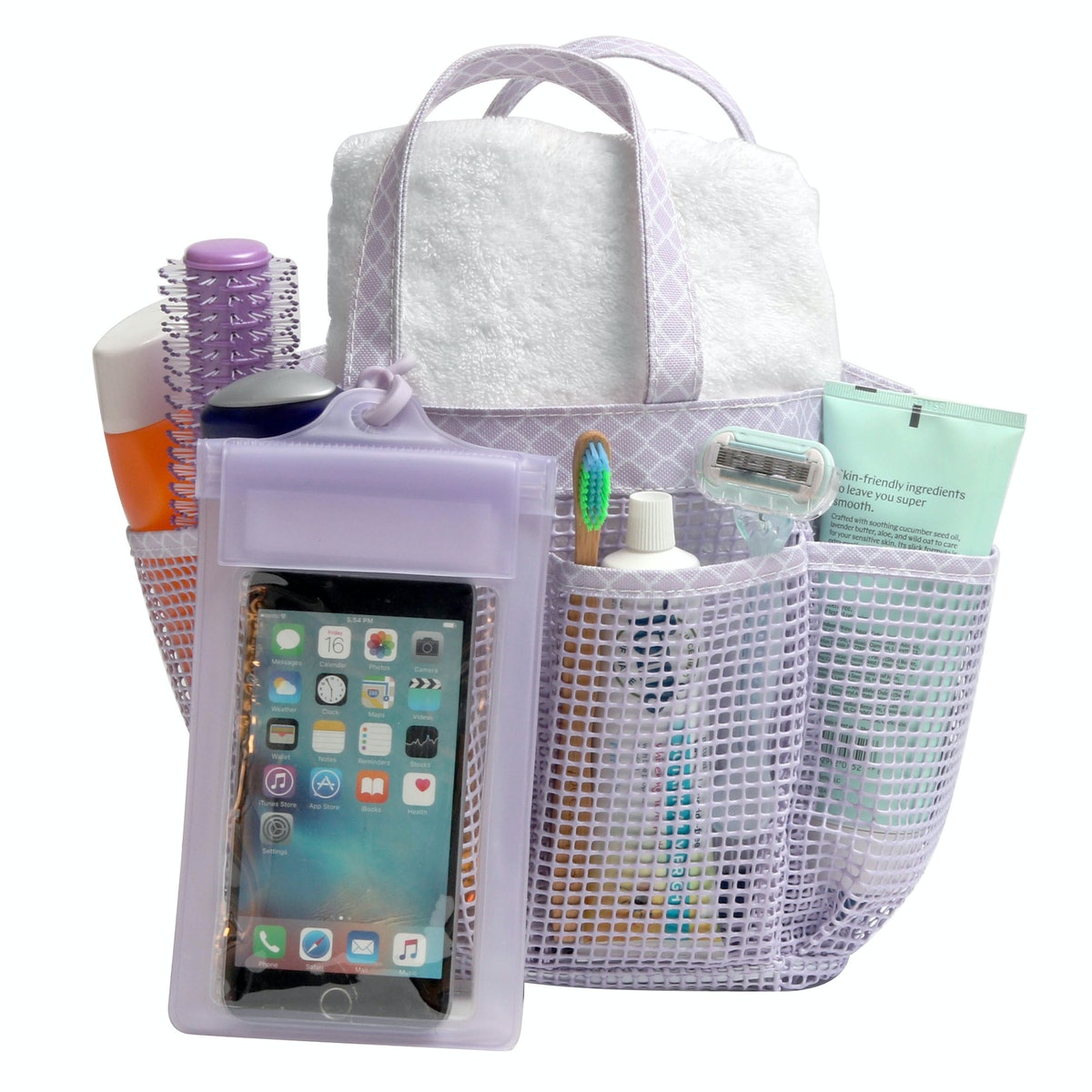 Mesh Shower Tote in Lilac Orchid Diamond